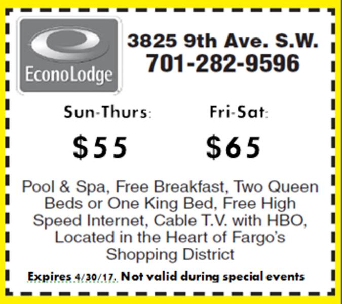 $55/NIGHT SUN-THURS OR $65/NIGHT FRI-SAT AT ECONO LODGE WEST
