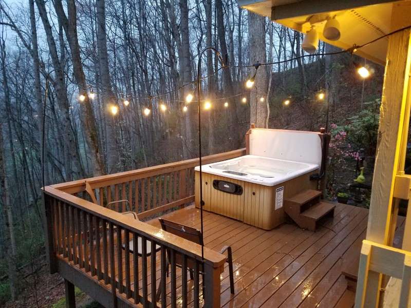 in deck gatlinburg rental very honeymoon cabin log romantic private hot cozy cottage tub w with jacuzzi