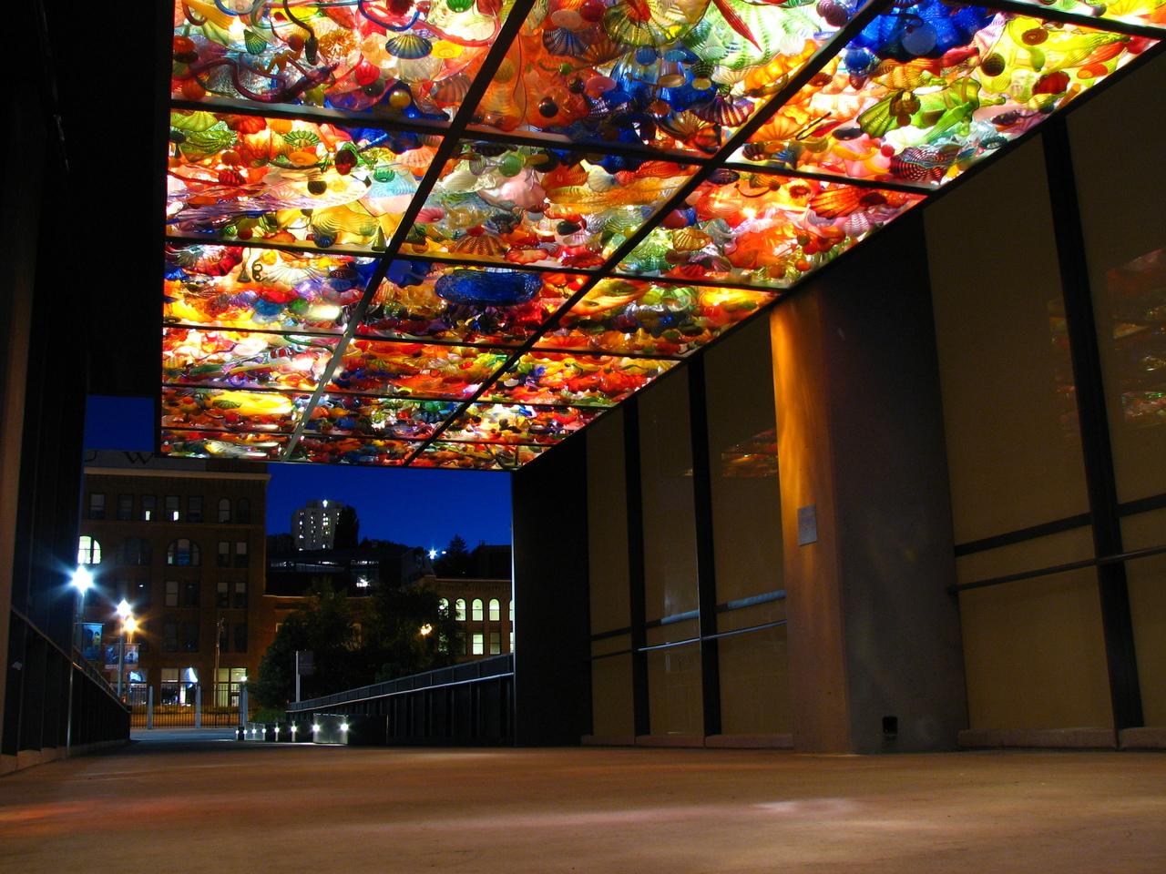 Bridge of Glass seashells at night & Chihuly Bridge of Glass | Tacoma WA 98402