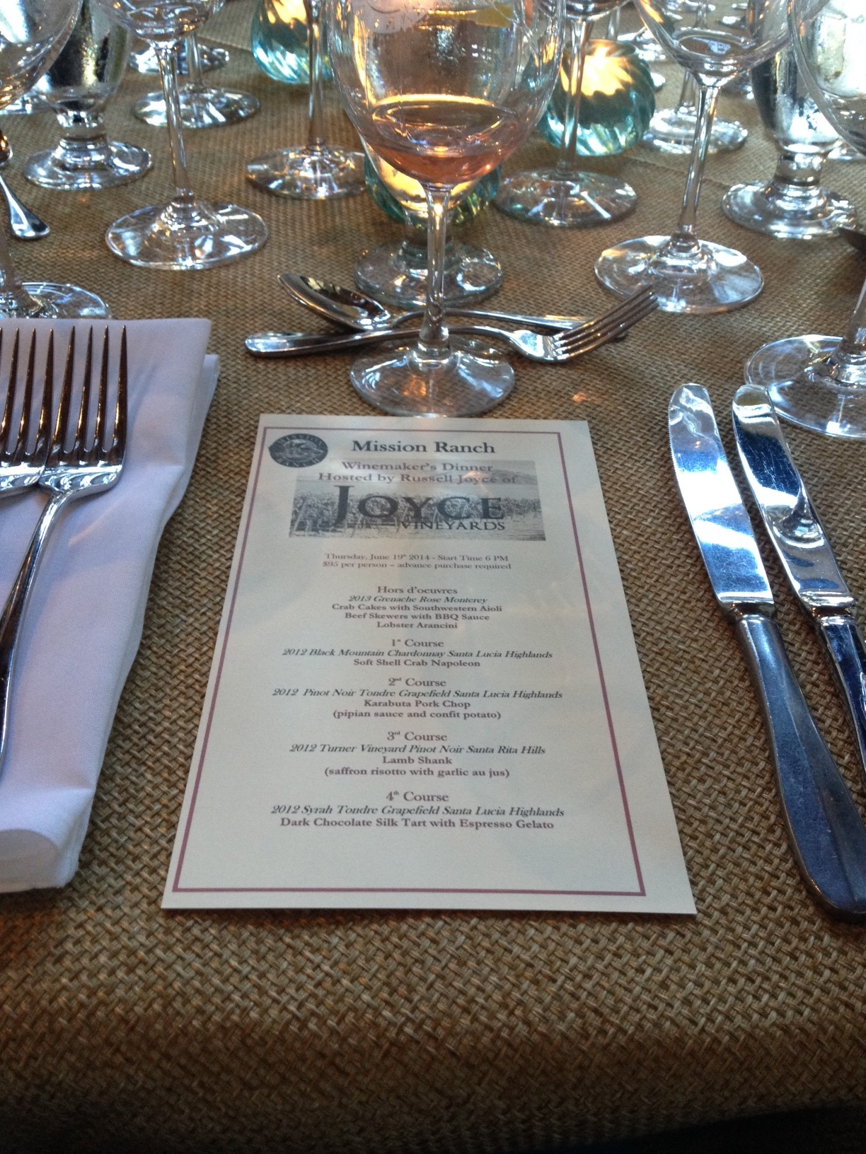 Joyce Winemaker's Dinner at Mission Ranch