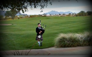 Bagpiper walked up 18th fairway towards the setting sun...Irish tradition at Long Bow Golf Club for Notre Dame's Clover Cup