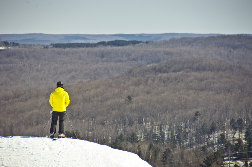 A thoughtful moment at Shanty Creek's Schuss Mountain
