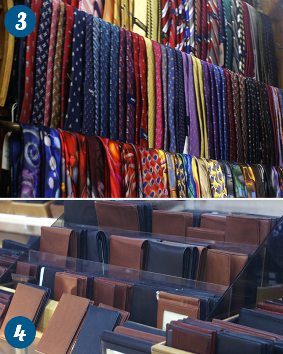 Colorful ties and wallets on display in Downtown Traverse City
