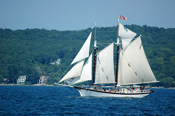The Tall Ship Manitou out for a sail in West Grand Traverse Bay