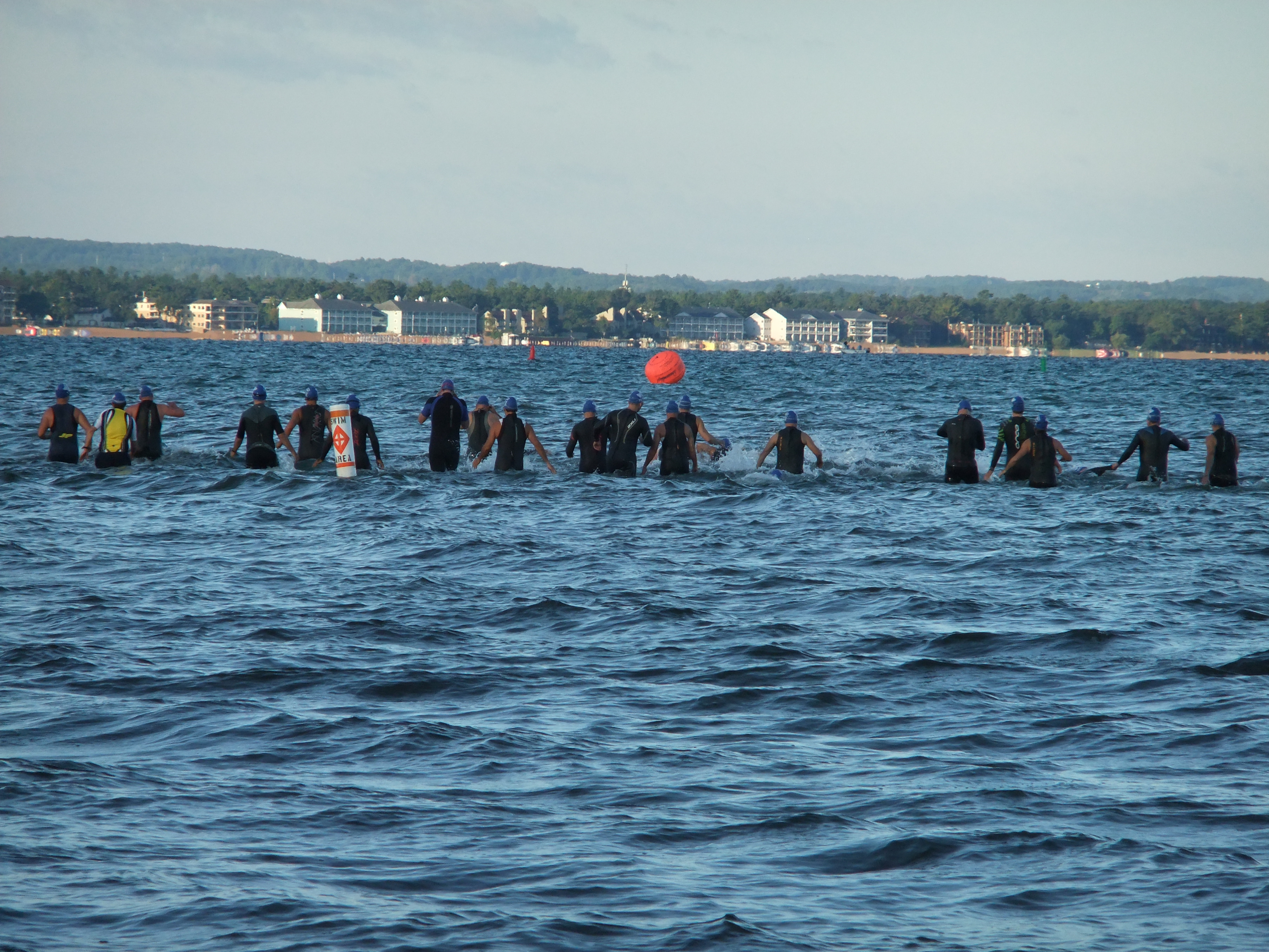 Getting into the Bay at the Barefoot Triathlon