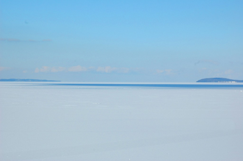West Grand Traverse Bay Under Ice (That hump off to the right is Power island.)