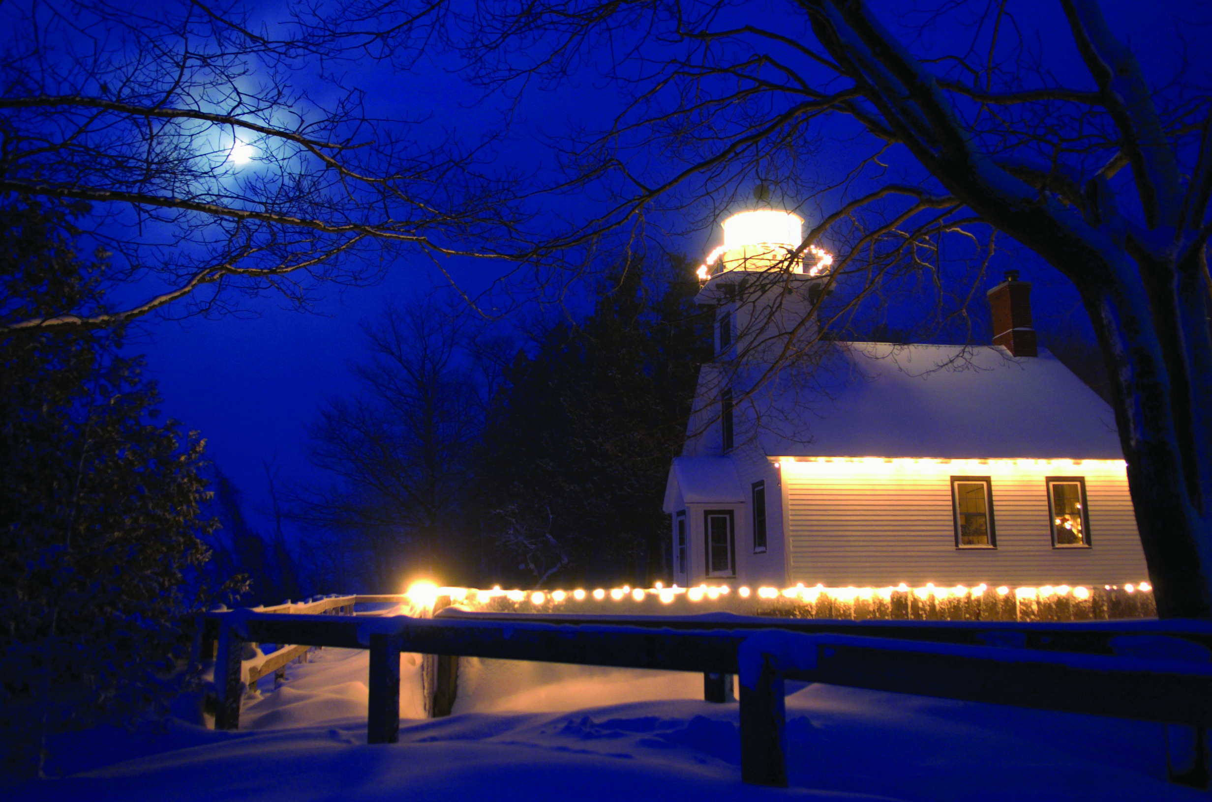Old Mission Lighthouse -- Christmas