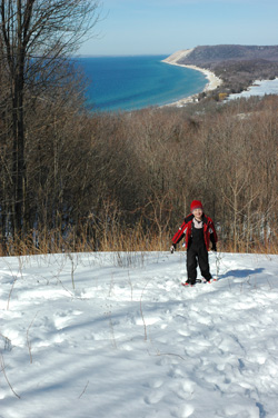 Young snowshoer at Sleeping Bear.