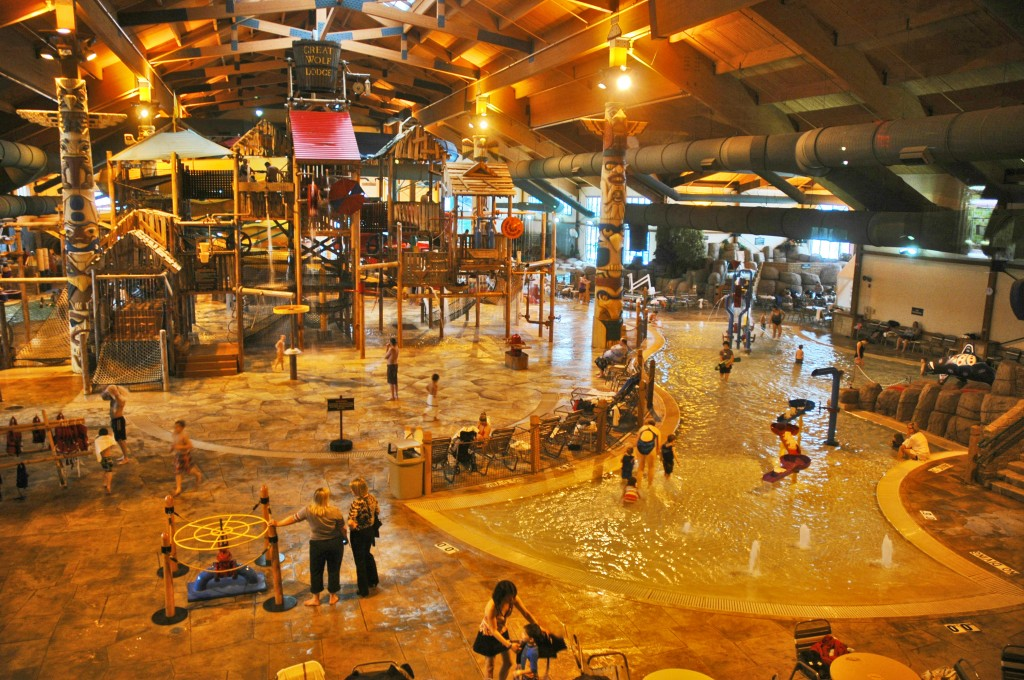 Splashing around in the indoor waterpark at Traverse City's Great Wolf Lodge