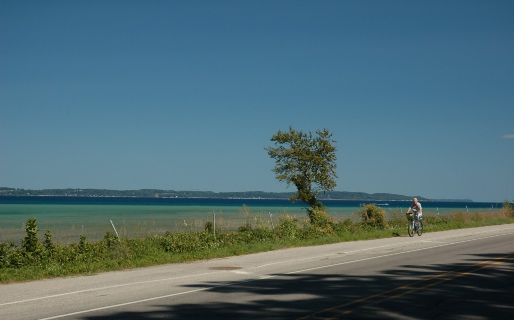 Riding along East Grand Traverse Bay on the TART Trail