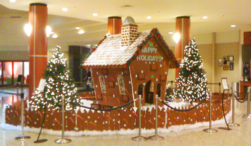 The tasty gingerbread house in the lobby at the Grand Traverse Resort