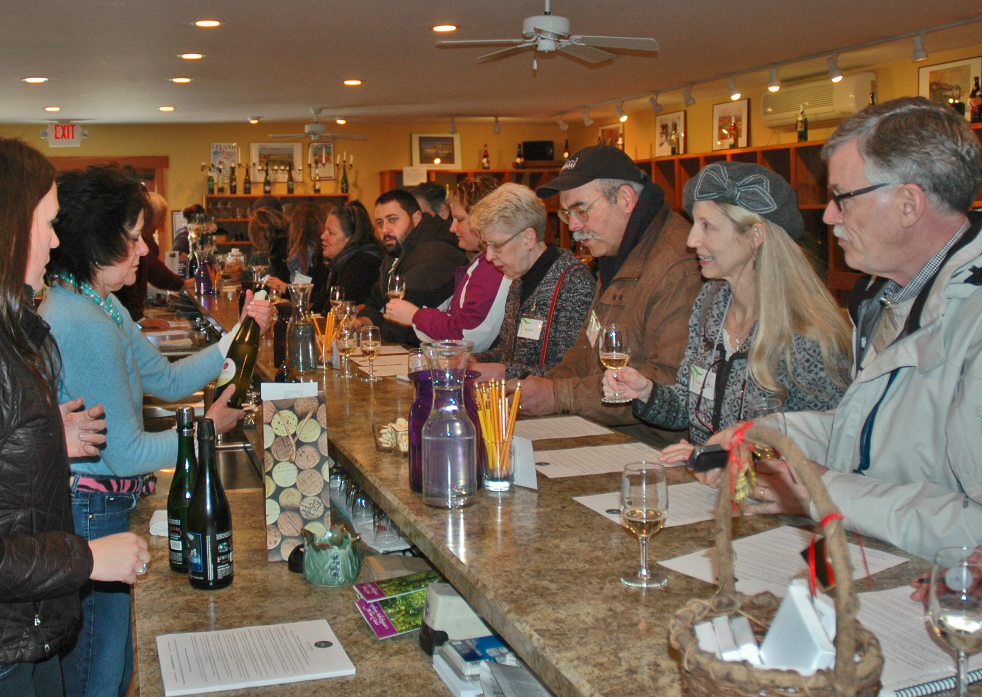 Samp,ing the new wines at Good Harbor  Vineyards