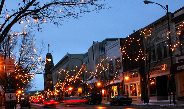 Downtown Traverse City during the holidays