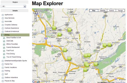 Poconos Map Explorer