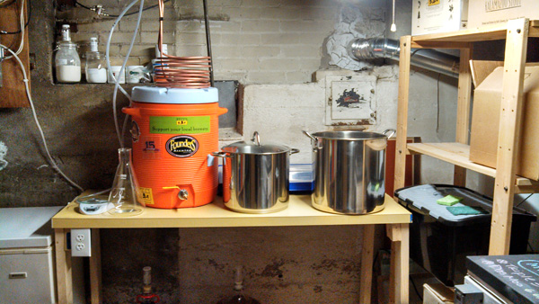 Rob Qualls' home brewing setup in Grand Rapids