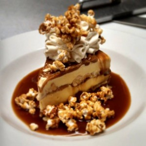 Salted Caramel Ice Cream Pie with Homemade Caramel Corn at Olive's.