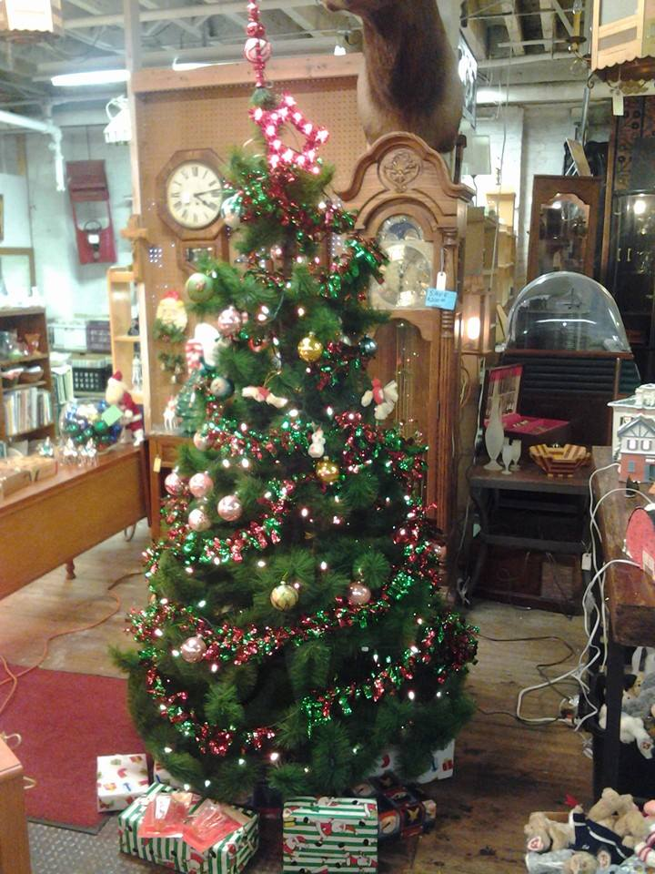 Christmas tree with vintage ornaments at Century Antiques