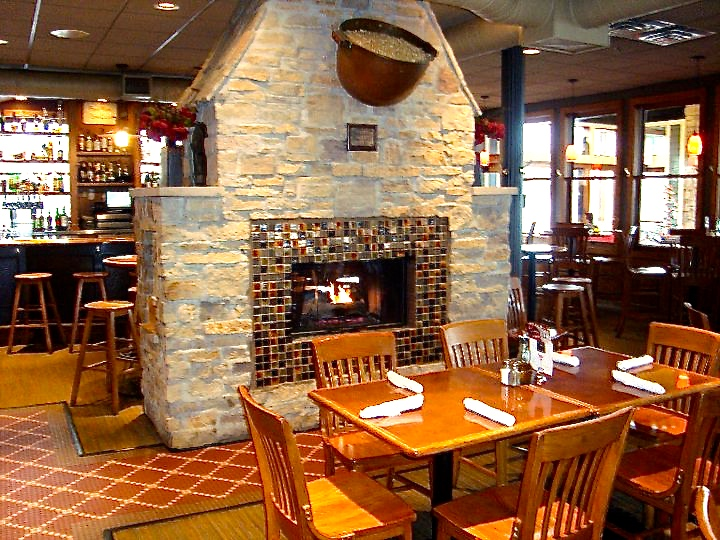Fireplace in Rose's Restaurant in Grand Rapids