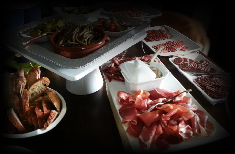 Selection of meats, cheeses and breads from Aperitivo