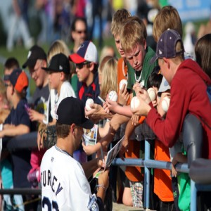 Signing baseballs
