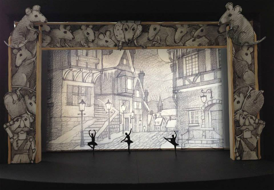 Model and sketch of the street scene including mock-ups of dancers - Image Courtesy of Grand Rapids Ballet