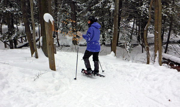 Snowshoer hiking a trail through Hemlock Crossing Park.