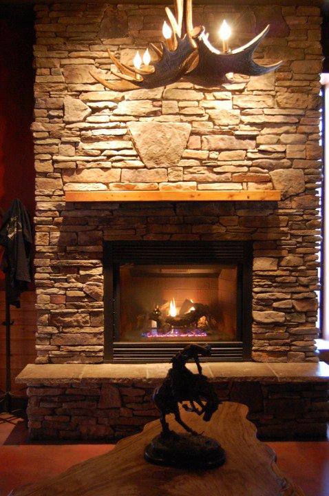 Grand Woods Lounge's fireplace in Grand Rapids, Michigan