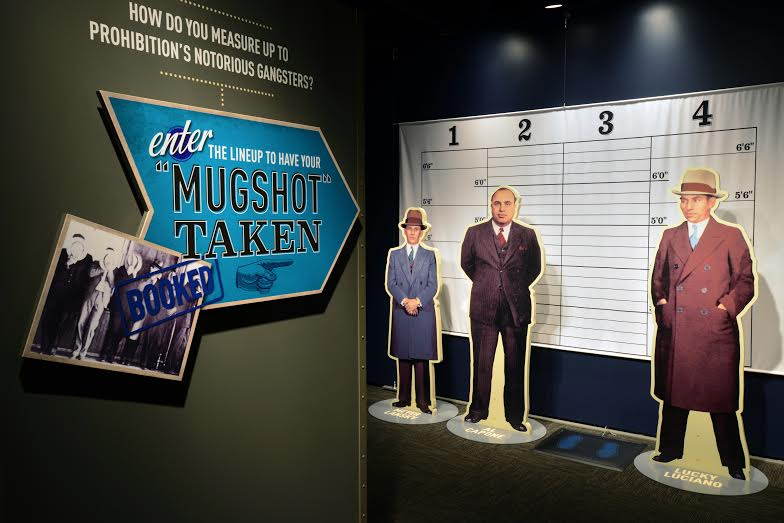 Prohibition Mugshots area of the American Spirits: The Rise and Fall of Prohibition exhibit