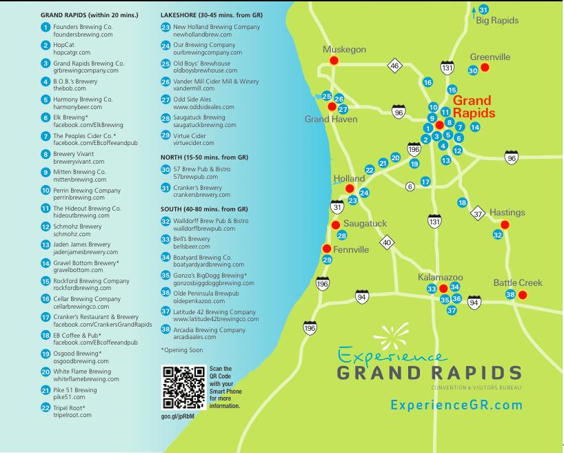Grand Rapids Beer Tour Map