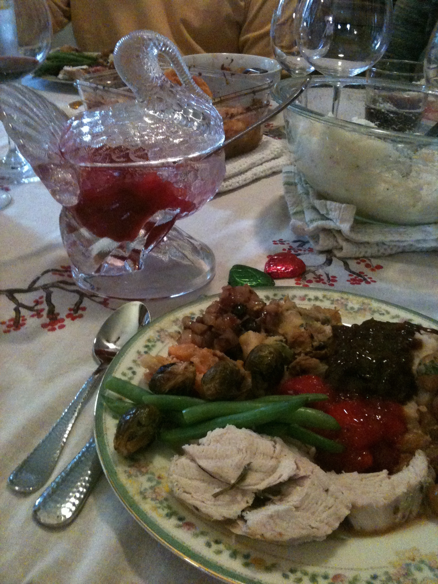 A tasty plate of food at the first Thanksgiving dinner I hosted.