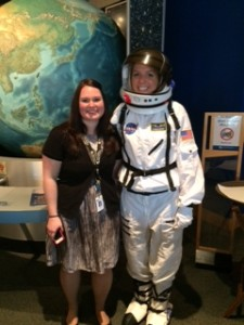 Wearing a space suit