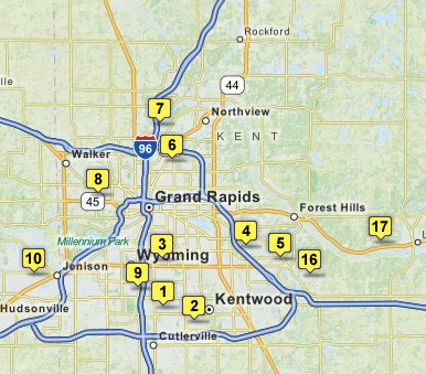 Screenshot of holiday lights map in Grand Rapids