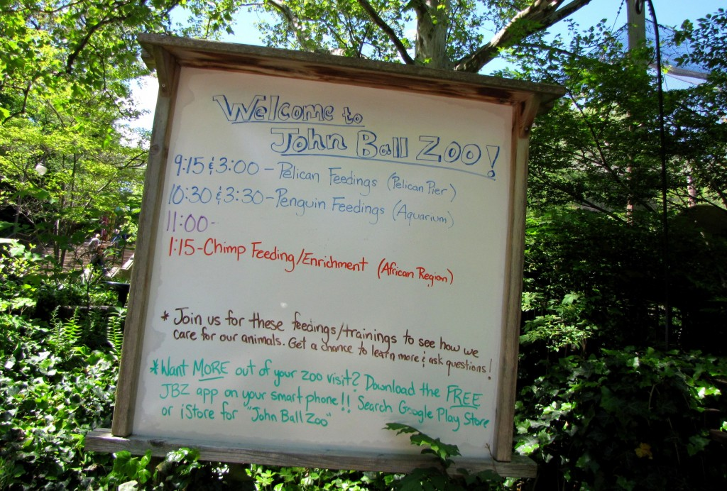 John Ball Zoo special events board
