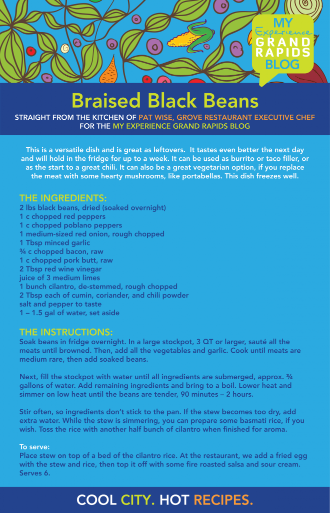 braised black beans receipe from Grove Restaurant in Grand Rapids