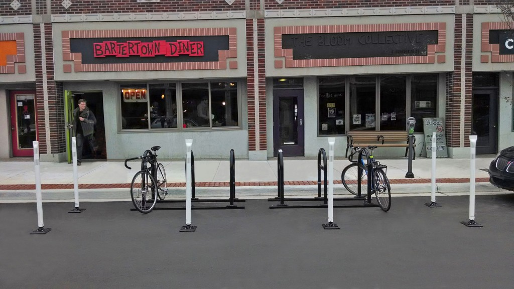 Bike corral in front of Bartertown Diner.  Photo courtesy of cyclesafe.com