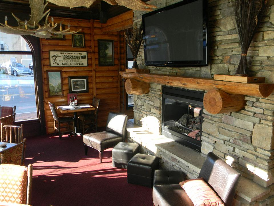 Fireplace in Grand Woods Lounge in Grand Rapids