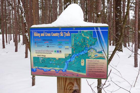 Hemlock Crossing Park trails sign