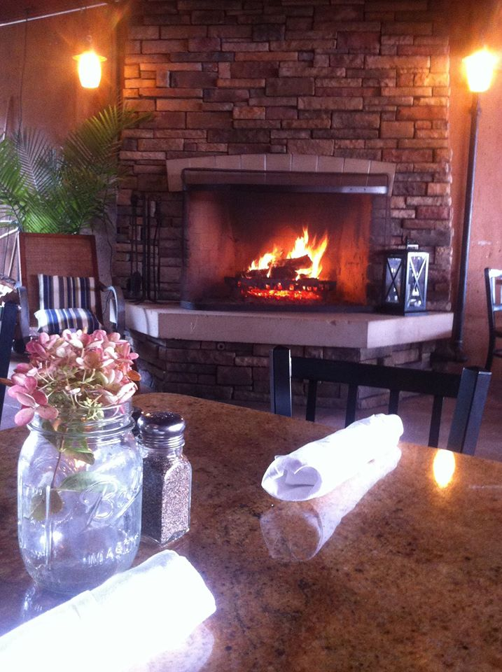 Blue Water Grill's fireplace in Grand Rapids