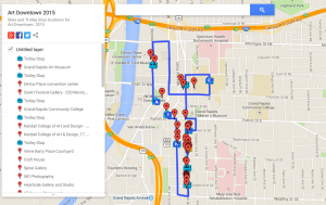 Map of Sites and Trolley Stop locations for Art Downtown 2015