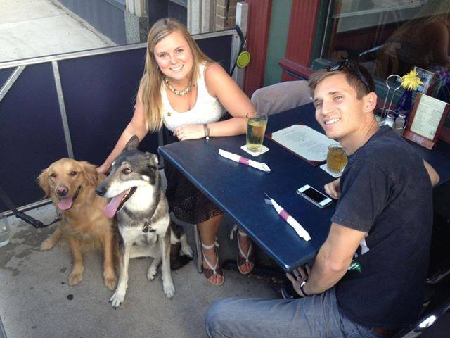 Diners enjoying dinner at One Trick Pony with their dogs in Grand Rapids