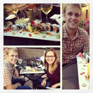 Molly & Joel Crist with Maru's chef's selection of sushi and sashimi.