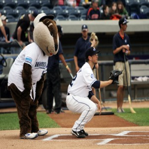 Mascot at home plate