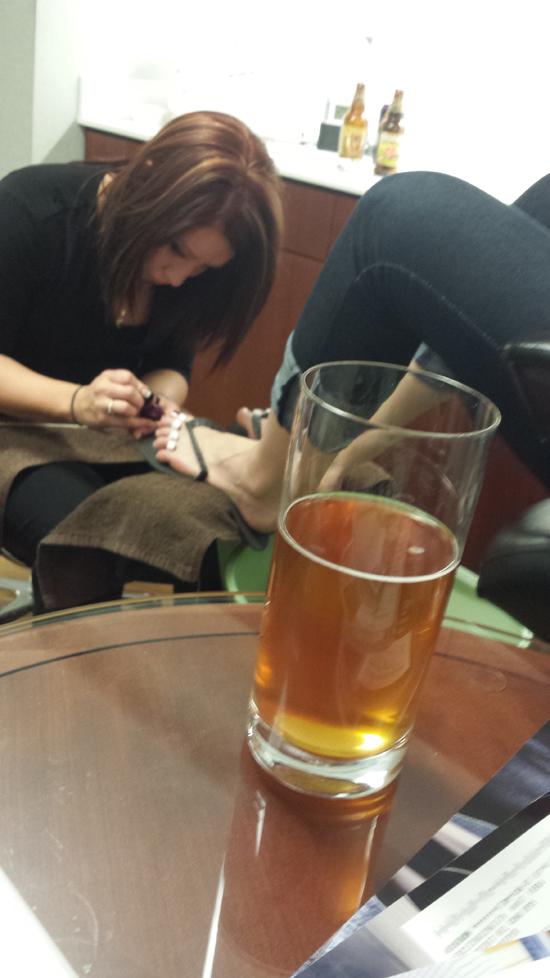 getting a pedicure