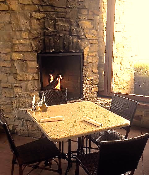 Rose's Restaurant porch with fireplace in Grand Rapids
