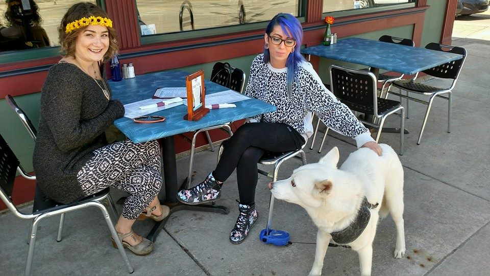 Diners and their dog at the One Trick Pony in Grand Rapids