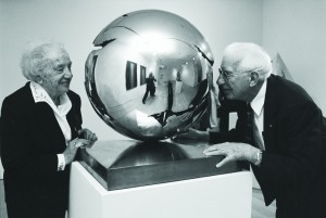 Fred and Lena Meijer viewing a sculpture