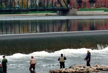 Fishing the Grand River in Grand Rapids, Michigan