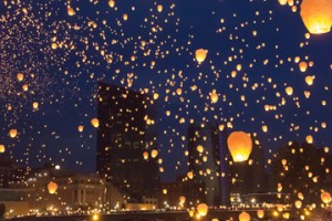 Thousands of Chinese Lanterns released into sky during ArtPrize 2012