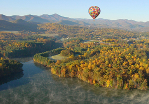 Aerial views of fall foliage