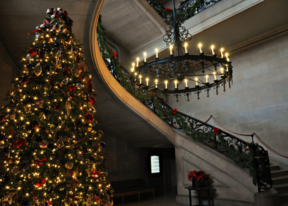 Christmas Tree in a Stairwell at Biltmore in Asheville